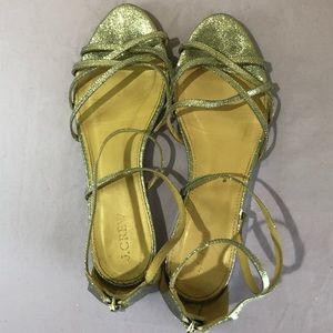 J Crew flat silver glitter strappy sandals size 9